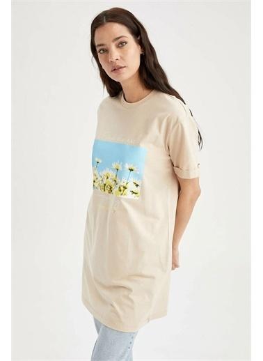 DeFacto Relax Fit Yazı Baskılı Tunik T-shirt Bej